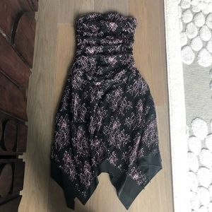 NWT Bebe black lace strapless dress pink floral
